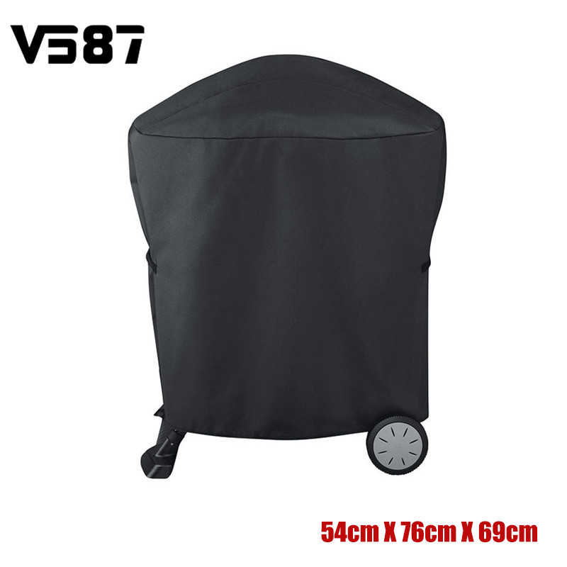 Polyester BBQ Cover Rolling Cart Barbecue Grill Protective Cover for Weber Q1000 2000 Se ...