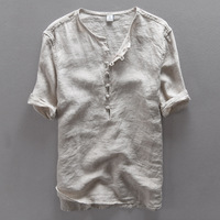Italy Brand Simple Fashion Men Shirt Casual Linen Shirt Men Solid Flax Breathable Summer Shirt Mens