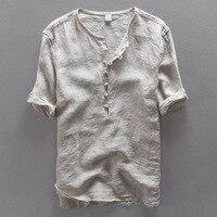 Italy Brand Simple Fashion Men Shirt Casual Linen Shirt Men Solid Flax Breathable Summer Shirt Mens