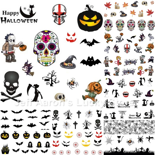 12pcslot beauty halloween water transfer nail art stickers decals nails decorations manicure tools pumpkin