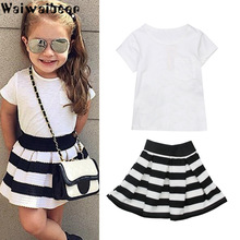 Waiwaibear Baby Kids Girls Summer Sets Baby Short Sleeve T-shirt Tops+Mini Skirt  2PCS Sets Baby Girls Outfits Clothes Set ASL19 2016 new 2pcs toddler baby girls infant outfits tops t shirt skirt dress kids clothes set tracksuit for girls clothing sets