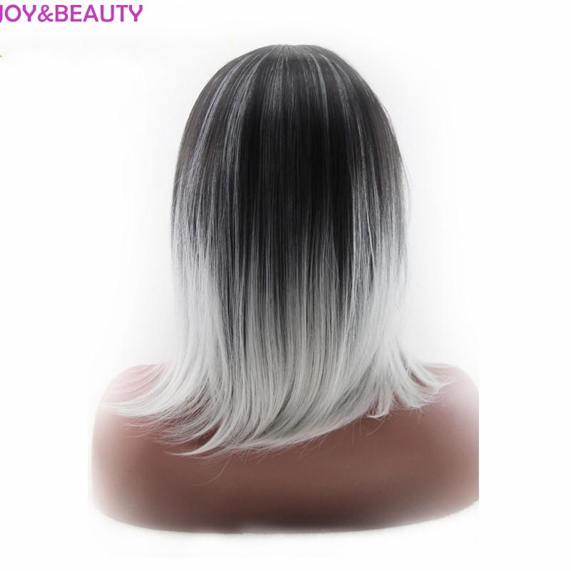 Joy Schönheit Synthetische Haar Schwarz Grau Ombre Perücke Kurze