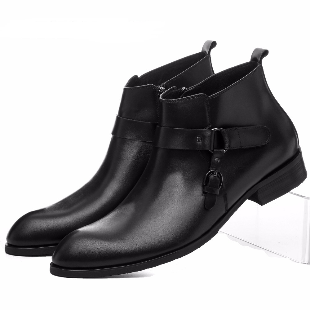 Large size EUR45 Black / brown tan mens ankle boots dress shoes genuine leather mens business boots with buckle large size eur45 brown black pointed toe serpentine chelsea boots mens ankle boots genuine leather boots mens dress shoes