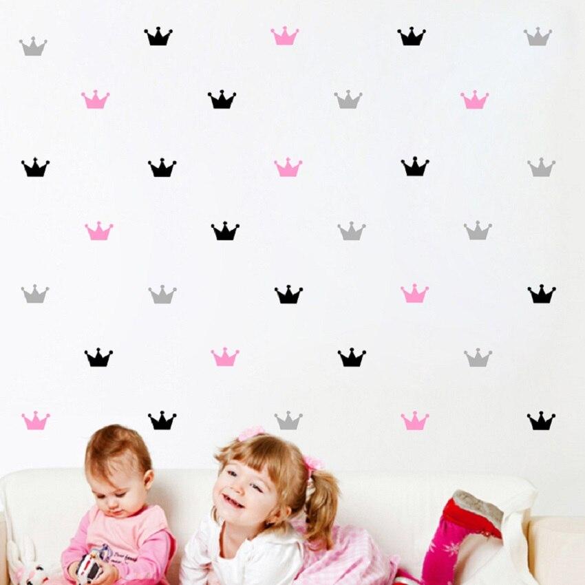 40 pc 아이의 침실 장식 데 칼 필름 스티커 공주 아기 장식 크라운 패턴 붙여 넣기 스티커 아이 방 배경