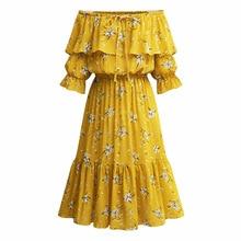 5f8d6a345d0a Off shoulder slash neck high waist ruffle dress Chiffon floral print yellow  dress Plus Size Dresses