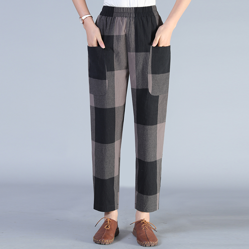Women Casual Harem Pants Black Gray Classical Plaid Loose Trousers Female High Elastic Band Waist Check Pattern Pant Woman Wear