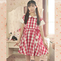 Summer Red White Plaid Peter pan collar Little Daisy Lolita Japan Fashion Mori girls dress Sweet Women A-line short-sleeve dress