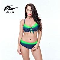 Sıcak Satış Artı Boyutu Bikini 2017 Yeni Seksi Mayo Kadın Mayo büyük Boy Bikini Set Maillot De Bain Push Up Sütyen Mayo