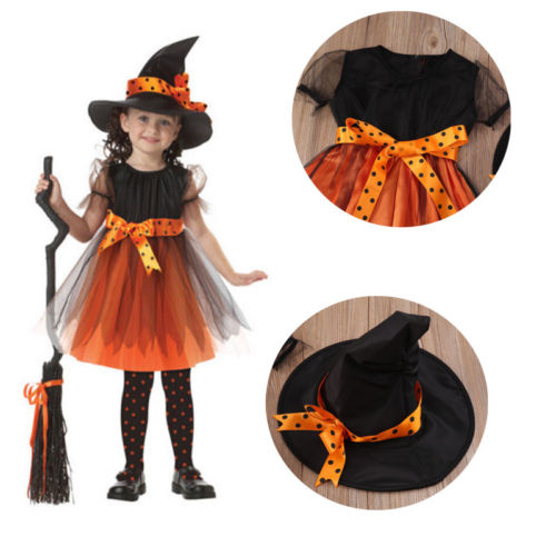 424f3bfaff63 Halloween Witch Costume Baby Girls Pumpkin Fancy Dress+Hat Holiday Party  Outfits