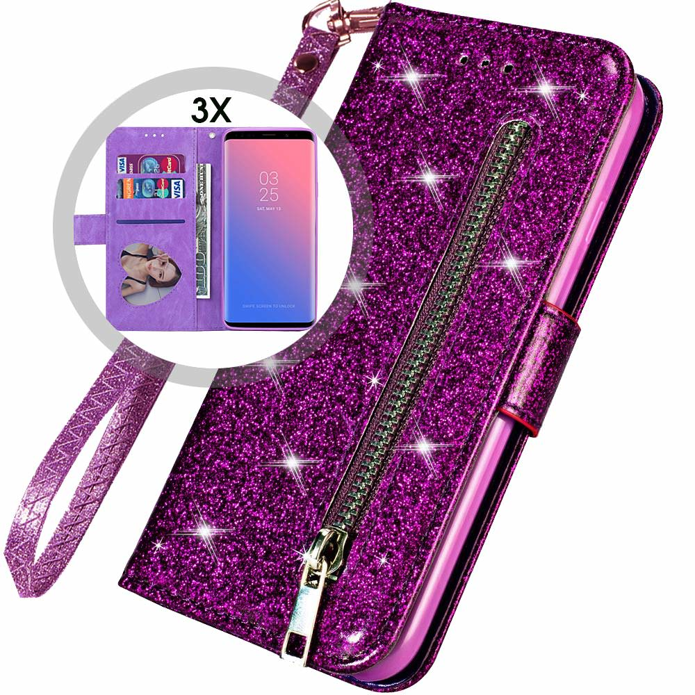 HTB1K7TLdlCw3KVjSZFlq6AJkFXaY Bling Glitter Case For Samsung Galaxy S10e Note 8 9 S10 Plus S9 S8 Plus S7 Edge S6 Leather Flip Stand Zipper Wallet Cover Coque
