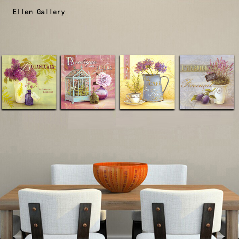 4pieces Flowers In A Vase Home Decor Canvas Painting Wall