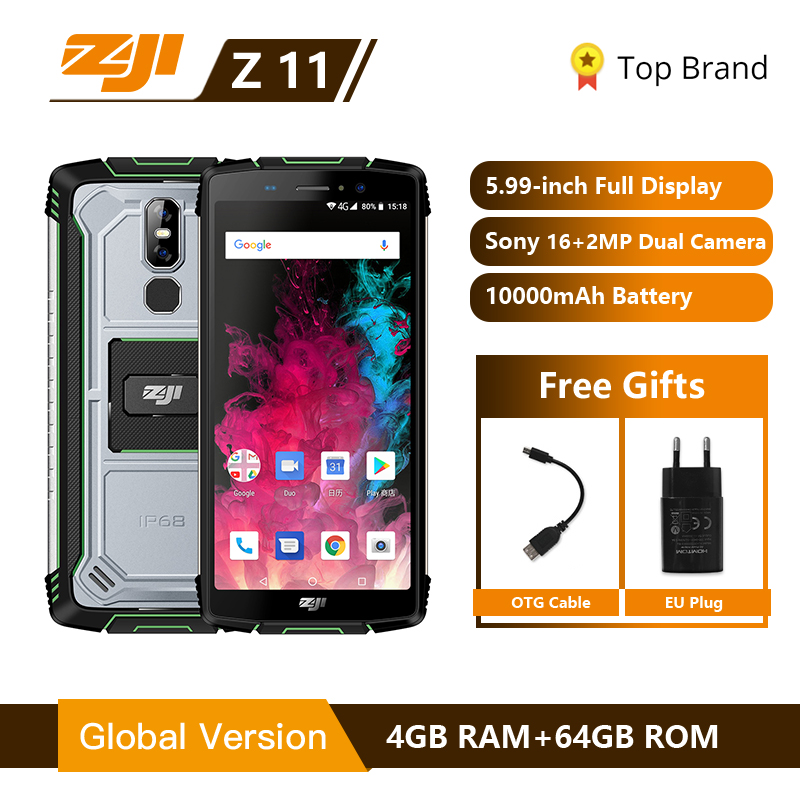 """ZJI ZOJI Z11 IP68 étanche à la poussière 10000 mAh Smartphone 4 GB 64 GB Octa Core téléphone portable 5.99 """"18:9 Face ID 4G téléphone portable"""