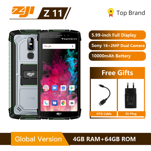 """ZJI ZOJI Z11 IP68 กันน้ำฝุ่น Proof 10000 mAh สมาร์ทโฟน 4 GB 64 GB Octa Core โทรศัพท์มือถือ 5.99"""" 18:9 Face ID 4G โทรศัพท์มือถือ"""