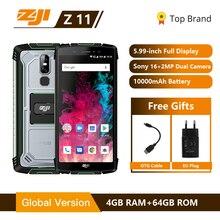 """מכירה ZOJI Z11 IP68 עמיד למים אבק הוכחה 10000 mAh Smartphone 4 GB 64 GB אוקטה Core טלפון סלולרי 5.99"""" 18:9 פנים מזהה 4G נייד טלפון"""