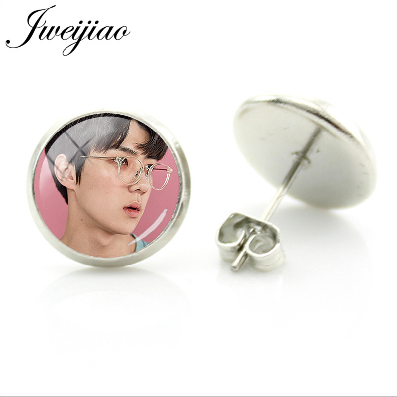 JWEIJIAO Hot EXO Earrings Boys-Band Album Photo Stud Earrings Glass Cabochon Jewelry Brinco Bijoux EX11(China)