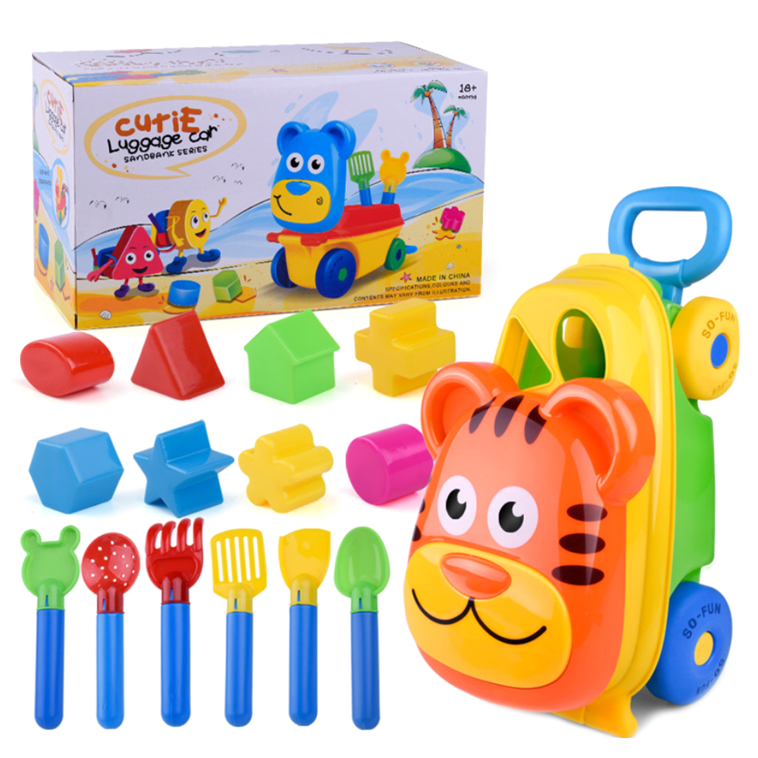 15Pcs Children Outdoor Sand Toys Beach Toy Luggage Cart Sand Play Set Digging Shovel Tools Bath Water Playing Toy - Random Color