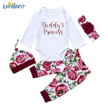 f339e15c3 LONSANT 4 piezas conjuntos de bebé niñas traje de algodón recién nacido bebé  niña carta mameluco Tops + Pantalones sombrero trajes conjunto de ropa