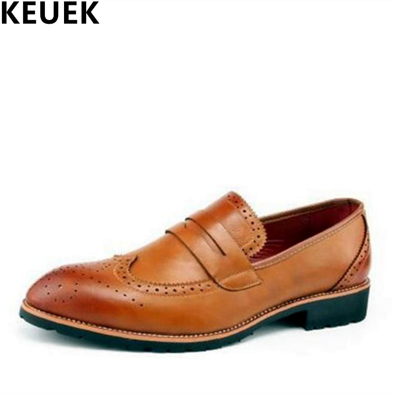 Fashion Brogues Shoes British style Men Business Casual Shoes Breathable Pointed Toe dress oxfords Flats Male Leather Shoes 3A mycolen fashion breathable british tide genuine leather pointed toe lace buckle mens dress shoes casual business male shoes men