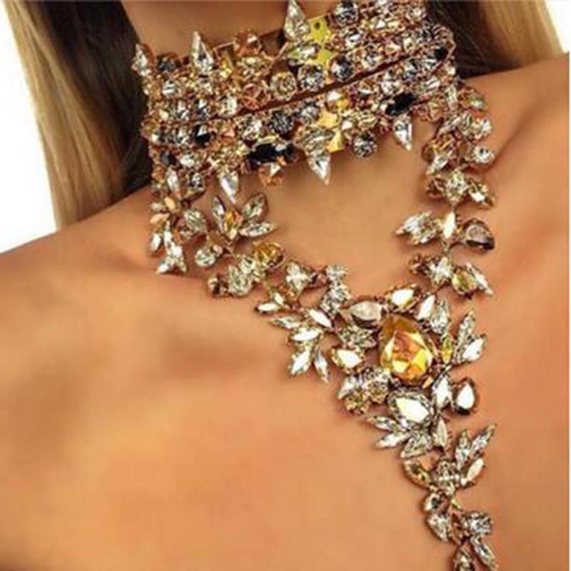 Best lady 2016 New Fashion Luxury Crystal Chokers Pendant Maxi Statement Necklace Women Wedding Charm Hot