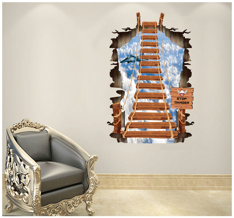 stair to blue sky fighter 3d diy wall stickers for nursery kids room children wall decals blue kids furniture wall