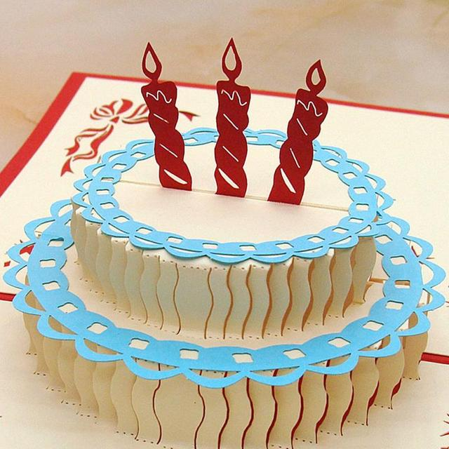 Vivid 3D Birthday Cake Shaped Happy Card Good Gift For Children Festival Decoration Cards
