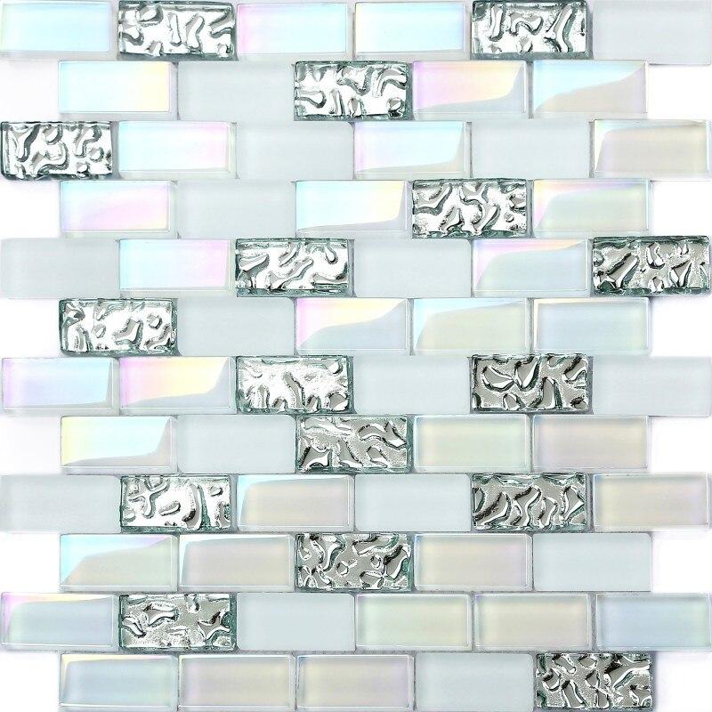 tienda online super white x ladrillo azulejos de mosaico de vidrio iridiscente astilla waterdrops tstnb para backsplash de la cocina bao paredes de la