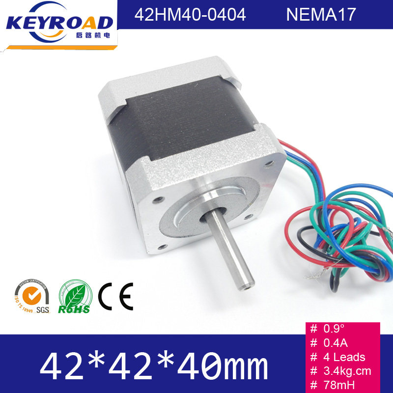 0.9 degree 3.4Kg.cm 4wires 0.4A 42mm 2phase Hybrid Stepper Motor NEMA17 Bipolar Medical Apparatus Step Motor 42HM40-0404