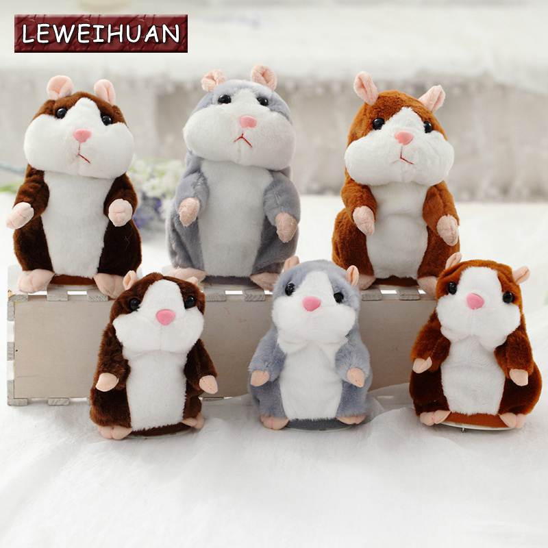 LEWEIHUAN Kawaii Talking Hamster Plush Toys Sound Record Plush Hamster Stuffed Toys for Children Kids Birthday Gift 15cm