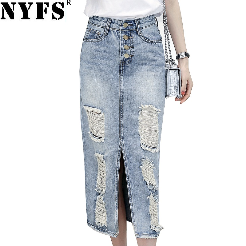 NYFS 2020 Spring Summer Autumn Fashion Women Long Denim Skirt Casual Plus Size Maxi Skirts Vintage Jeans Hem Split Pencil Skirts