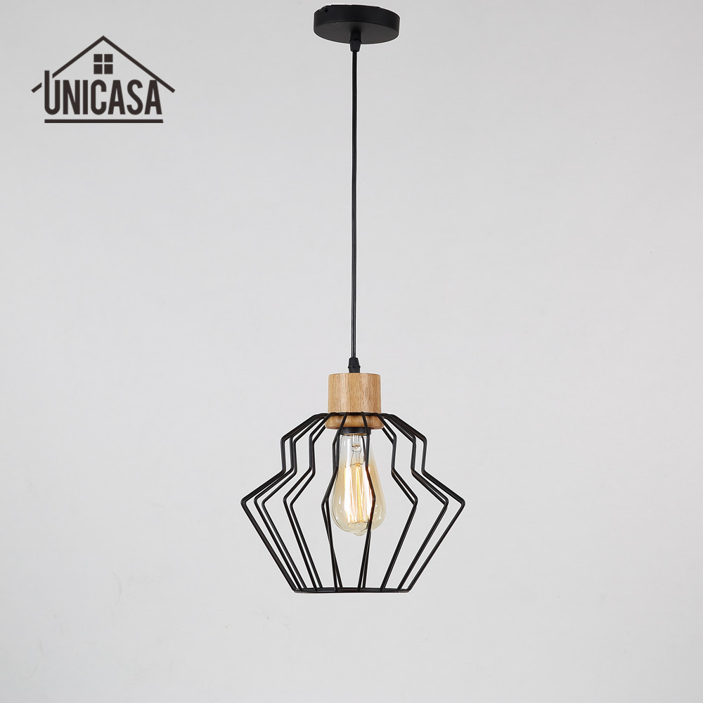 Vintage Wooden LED Light Wrought Iron Industrial Lighting Fixtures Kitchen Modern Pendant Lights Retro Pendant Ceiling Lamp