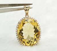 Solid 14k Yellow Gold NATURAL Diamond & 16.98ct AWESOME Citrine Pendant Jewelry