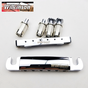 цена Original Wilkinson Chrome Silver Tune-O-Matic Style Electric Guitar Bridge For LP SG Guitar WOGT1+WOGB2 онлайн в 2017 году