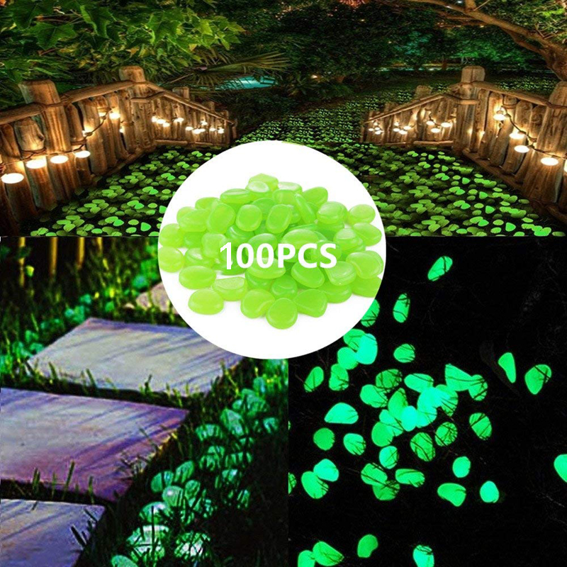 100pcs Bag Luminous Pebbles Stones Garden Fish Tank Aquarium Landscaping Wedding Decor Crafts Party Event Home Decoration