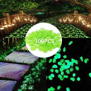 Image 4 - 100pcs Bag Luminous Pebbles Stones Garden Fish Tank Aquarium Landscaping Wedding Decor Crafts Party Event Home Decoration