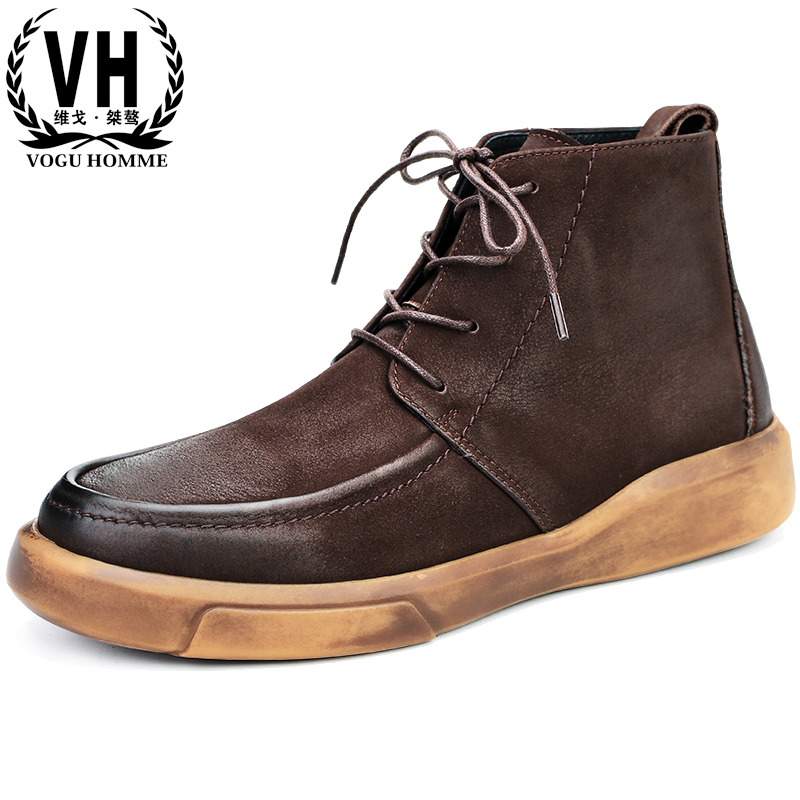 velvet Genuine Leather men's high top shoes Martin boots cowhide short boots autumn winter thick bottomed steel toe shoes cowboy цены онлайн