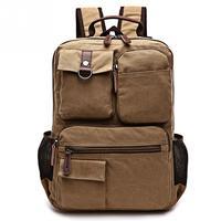 Vintage Canvas Backpack Men Large Capacity Laptop Backpack Multi Pockets Travel Rucksack Mochila Durable Bag