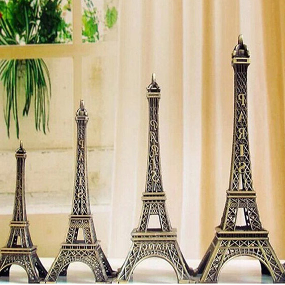 Romantic Retro Metal Crafts Vintage Bronze Tone Paris Effiel Tower Figurine Statue Home Decor Fashion 5/8/10/13cm #05
