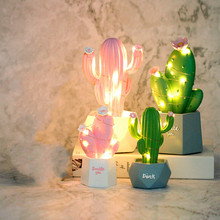 Ins Cactus   Lamp Resin Decoration  Small Night Lamp Desktop Night Light Bedroom Night Light night light resin crafts night lamp cute mouse star light desktop home decoration lamp ornaments button battery power supply