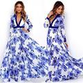 New women Summer Vintage Floral Print fitted Maxi Dress chiffon Long Sleeve floor length Dress Bohemian pleated vestido de festa