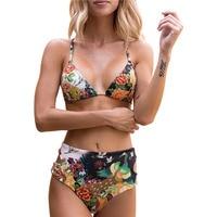 Sexy High Waist Bikini Swimwear Women Swimsuit Brazilian Bikini Print Halter Backless Beach Wear Plus Size