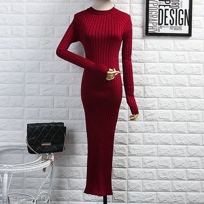 [Alphalmoda] 2017 Autumn Winter New Arrived Women Knitted Bodycon Dress Shining Threads Knitted Long-sleeved Mid-calf Vestidos