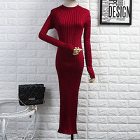 Alphalmoda 2017 Spring New Arrived Women Knitted Bodycon Dress Shining Threads Knitted Long Sleeved Mid