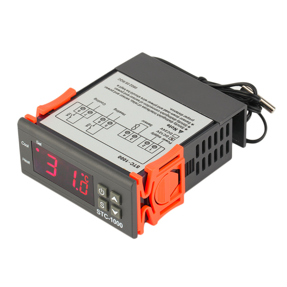 STC-1000 10A AC/DC 12V 24V 110V 220V Two Relay Output Digital Temperature Controller Thermostat -50~99C 1m Sensor for Incubator