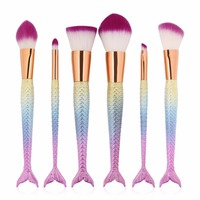 6Pc Mermaid Makeup Brushes Unicorn Foundation Eyeshadow Powder Fish Brush Cosmetic Make Up Brushes Tool