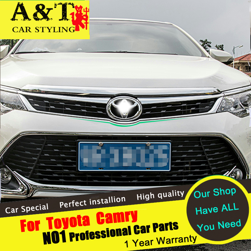A&T For Toyota Camry grille chrome trim car styling 2015 2016 For Camry logo front grille strip stickers car speacial ABS Car Ac free shipping automobile label car stickers for great wall changcheng front windshield stickers for front window