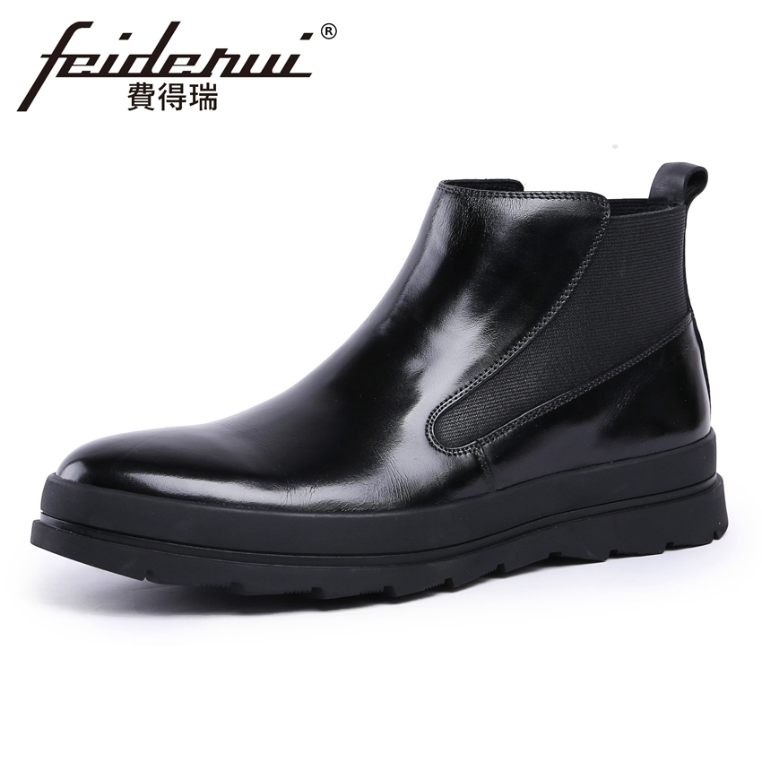 New Fashion Genuine Leather Men's High-Top Chelsea Ankle Boots Round Toe Handmade Cowboy Riding Man Flat Platform Shoes YMX203 new arrival man handmade flat platform shoes genuine leather round toe carved men s cowboy riding high top ankle boots js22