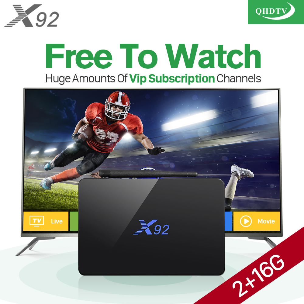 Smart X92 2GB Android 6.0 TV Set Top Box H.265 STB HD IPTV QHDTV Subscription 1 Year Europe Arabic IPTV Box Media Player x92 android iptv box s912 set top box 700 live arabic iptv europe french iptv subscription 1 year iptv account code