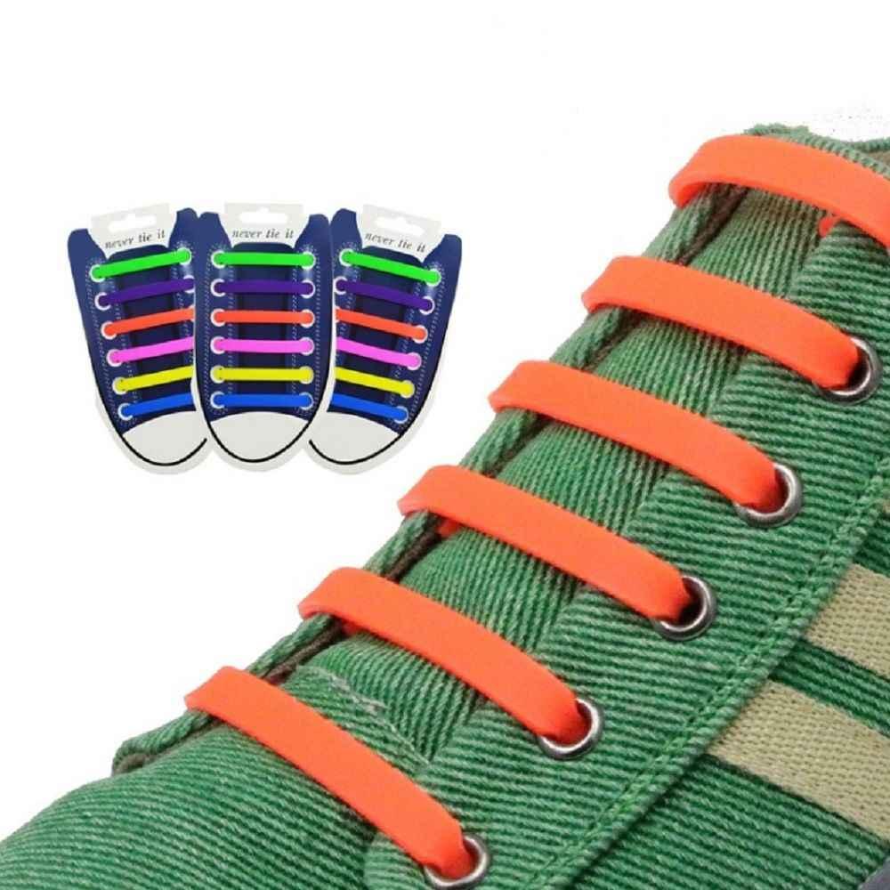 12 шт./компл. 13 цветов эластичные силиконовые шнурки для взрослых для мужчин и женщин спортивные беговые без галстука обувь Кружева Все кроссовки подходят ремень