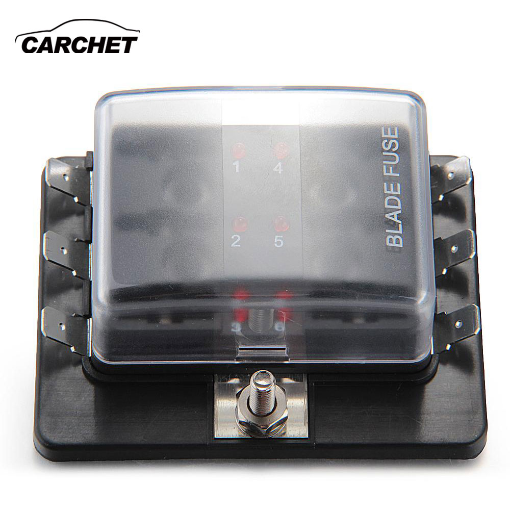 carchet 6 way blade 12v fuse box holder positive bus in led warning kit circuit car boat marine automotive blade fuse box holder [ 1000 x 1000 Pixel ]