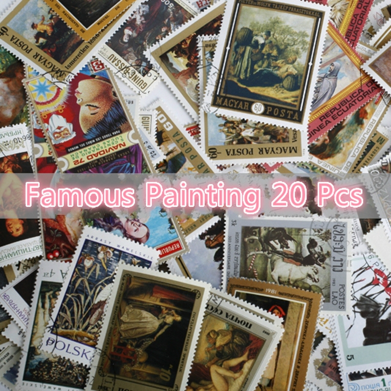 New 20Pcs/Lot World Famous Artist Painting Stamps All Different From Many Countries NO Repeat Marked Postage Stamps Collecting image